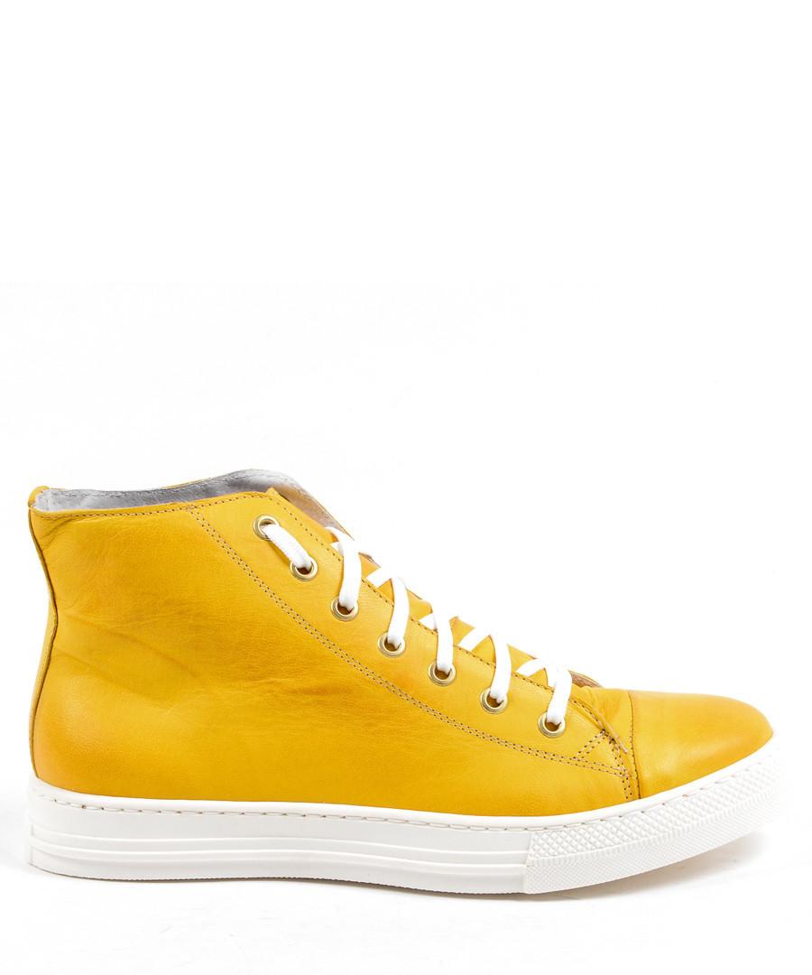 631b9ca387b6 Mustard yellow leather sneakers Sale - versace 1969 abbigliamento sportivo