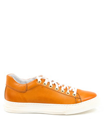 Orange leather sneakers