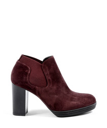 Bordeaux red suede ankle boots