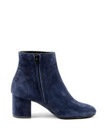 Women's Blue suede mid heel ankle boots