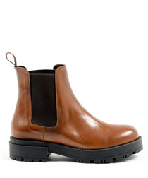 Women's Tan leather chunky ankle boots
