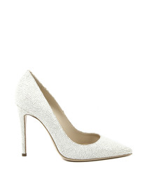 White leather stilettos