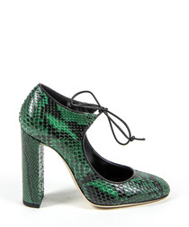Green & black leather block heels