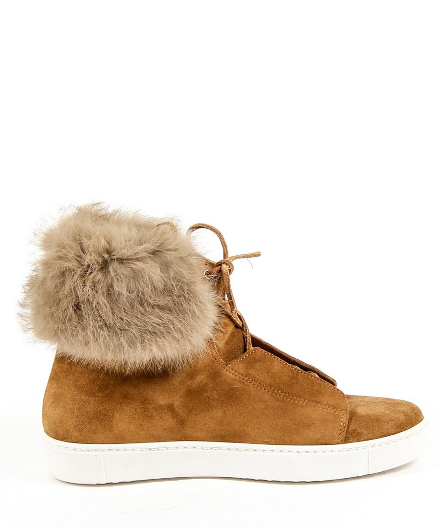 Tan suede fluffy laced boots  Sale - v italia by versace 1969 abbigliamento sportivo srl milano italia