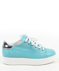 Turquoise leather sneakers