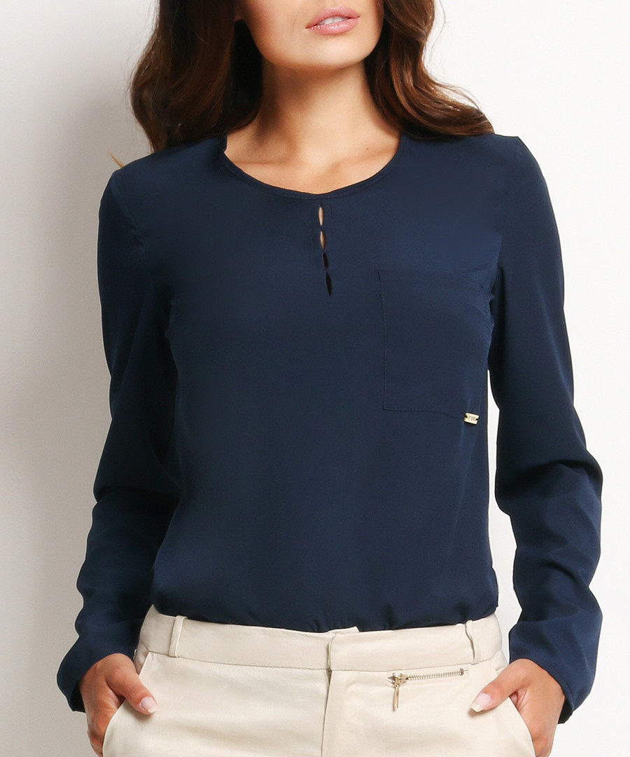 Navy pocket detail blouse Sale - awama
