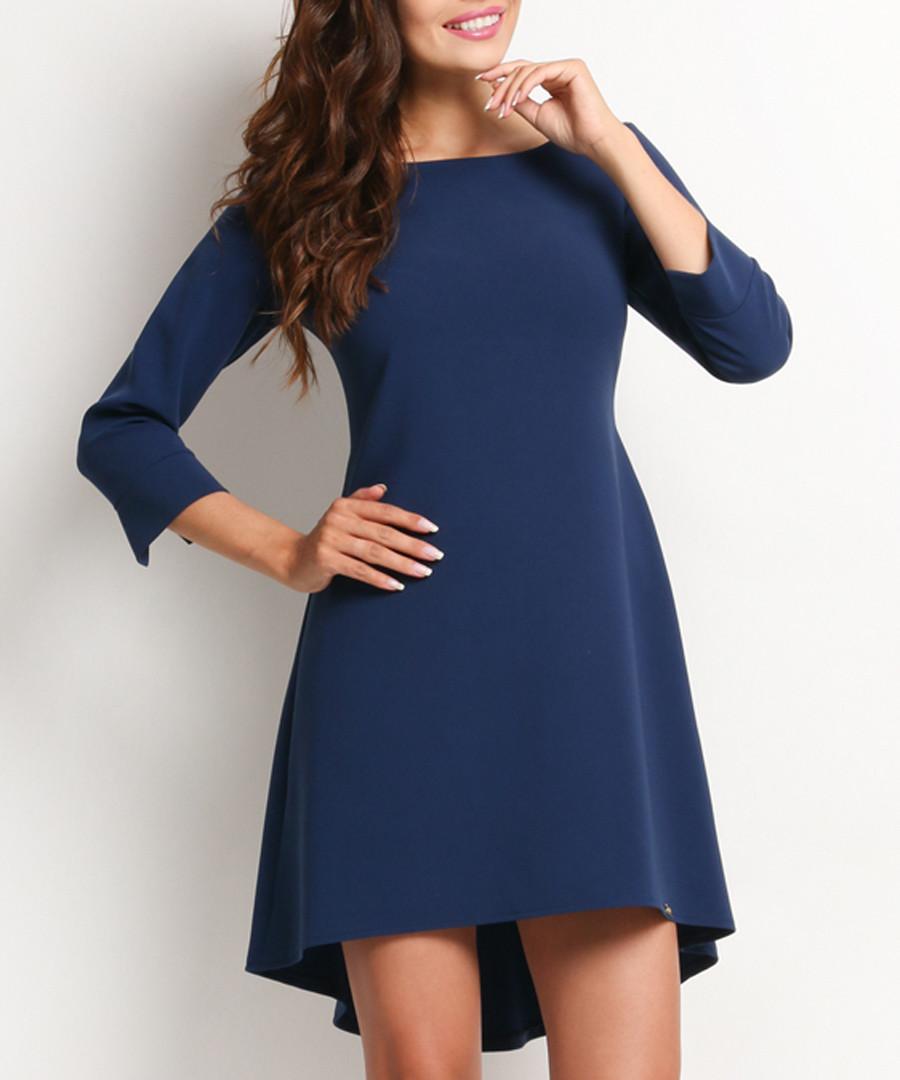 Navy 3/4 sleeve shift dress Sale - awama