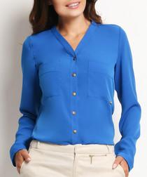 Blue collarless button-up blouse