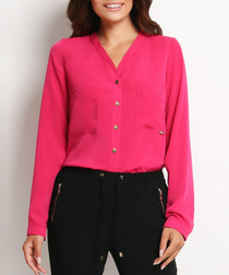 Pink collarless button-up blouse