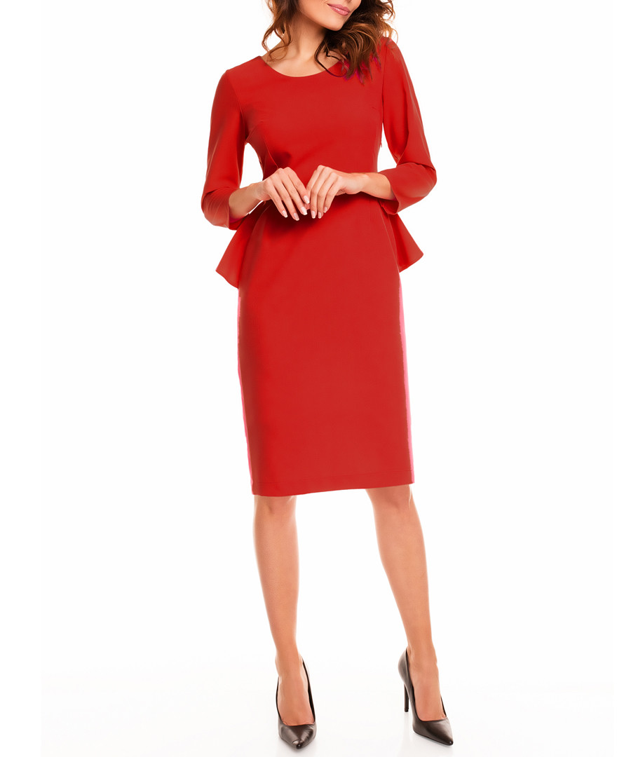 Red peplum-back midi dress Sale - awama