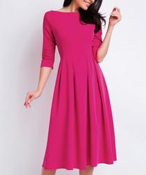 Pink 3/4 sleeve midi dress