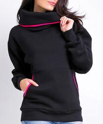 Black & pink contrast roll neck jumper