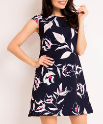 Navy printed sleeveless dress