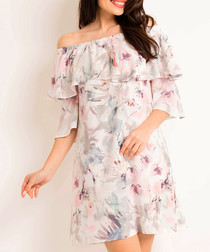 Bright flowers off the shoulder dress
