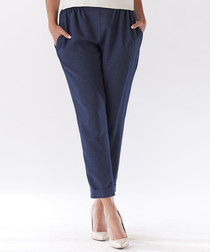 Navy blue rolled hem trousers