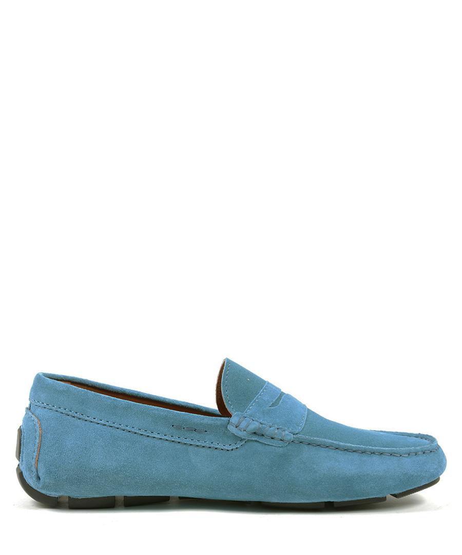 Men's Blue leather moccasins Sale - v italia by versace 1969 abbigliamento sportivo srl milano italia