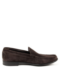 Dark brown leather moccasins