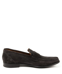Dark grey leather moccasins