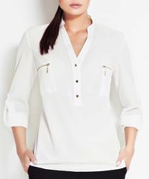 Ecru zip detail blouse