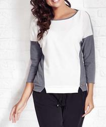 Ecru & grey contrast top