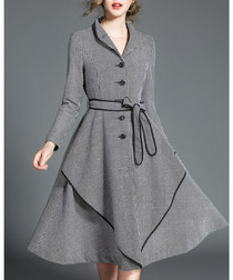 Grey cotton blend piping detail dress