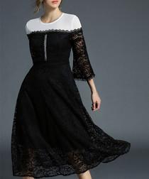 Black & white contrast lace dress