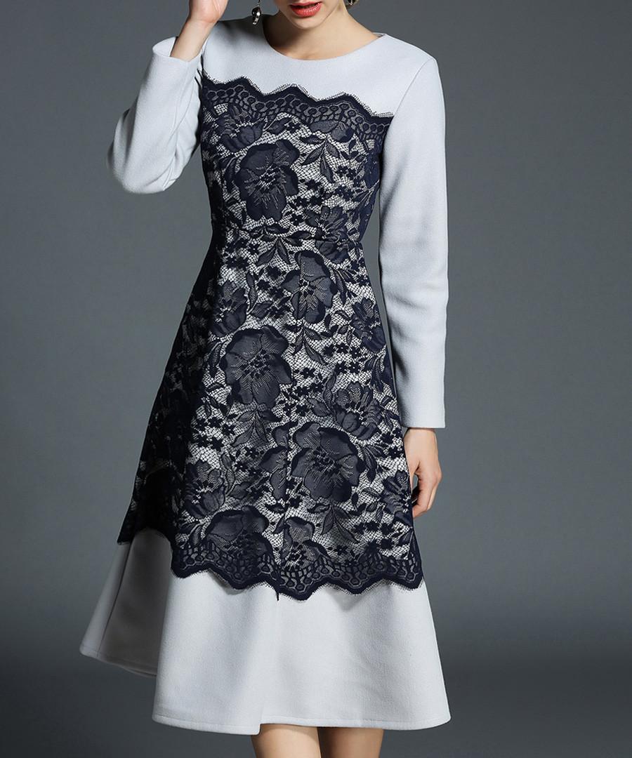 Grey & black lace panel dress Sale - yyfs