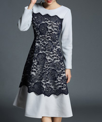 Grey & black lace panel dress