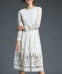 White lace overlay knee-length dress