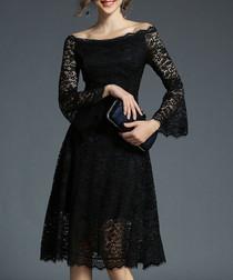 Black lace off-the-shoulder dress
