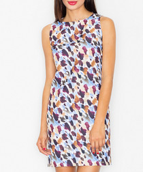 Blue & brown print sleeveless dress