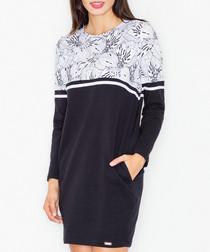 Black cotton blend floral panel dress
