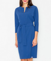 Blue tie-front knee-length dress