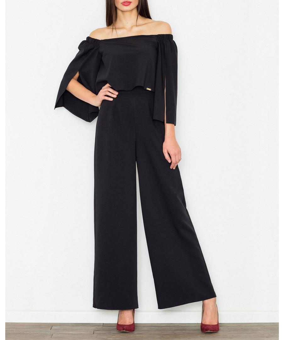 Black off-the-shoulder flared jumpsuit Sale - figl