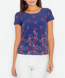Blue & red floral print T-shirt