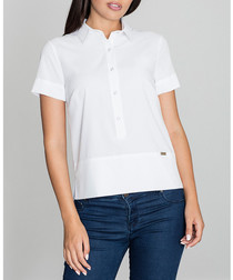 White short-sleeve button-up blouse