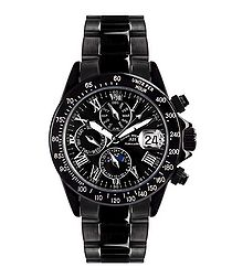 Le Captaine black steel watch