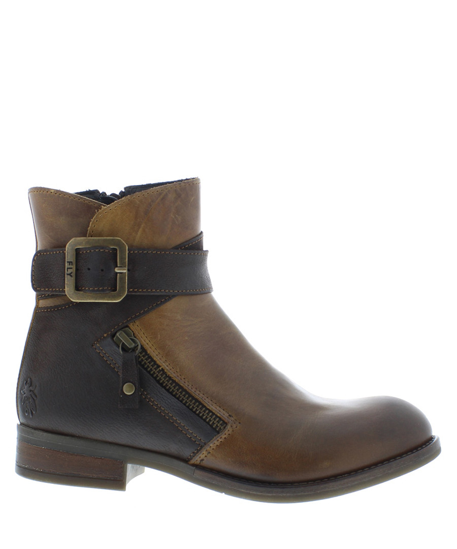 Afar camel & chocolate leather boots Sale - fly london