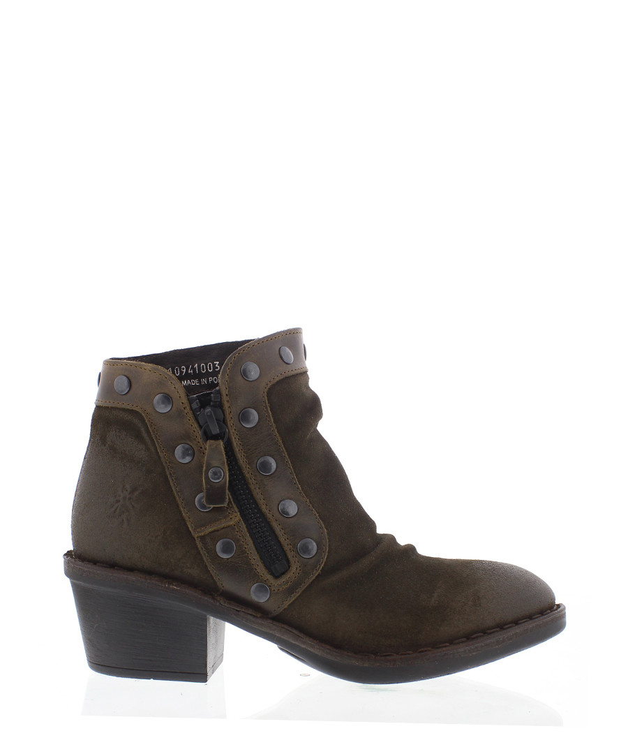 Duke olive leather heeled ankle boots Sale - fly london