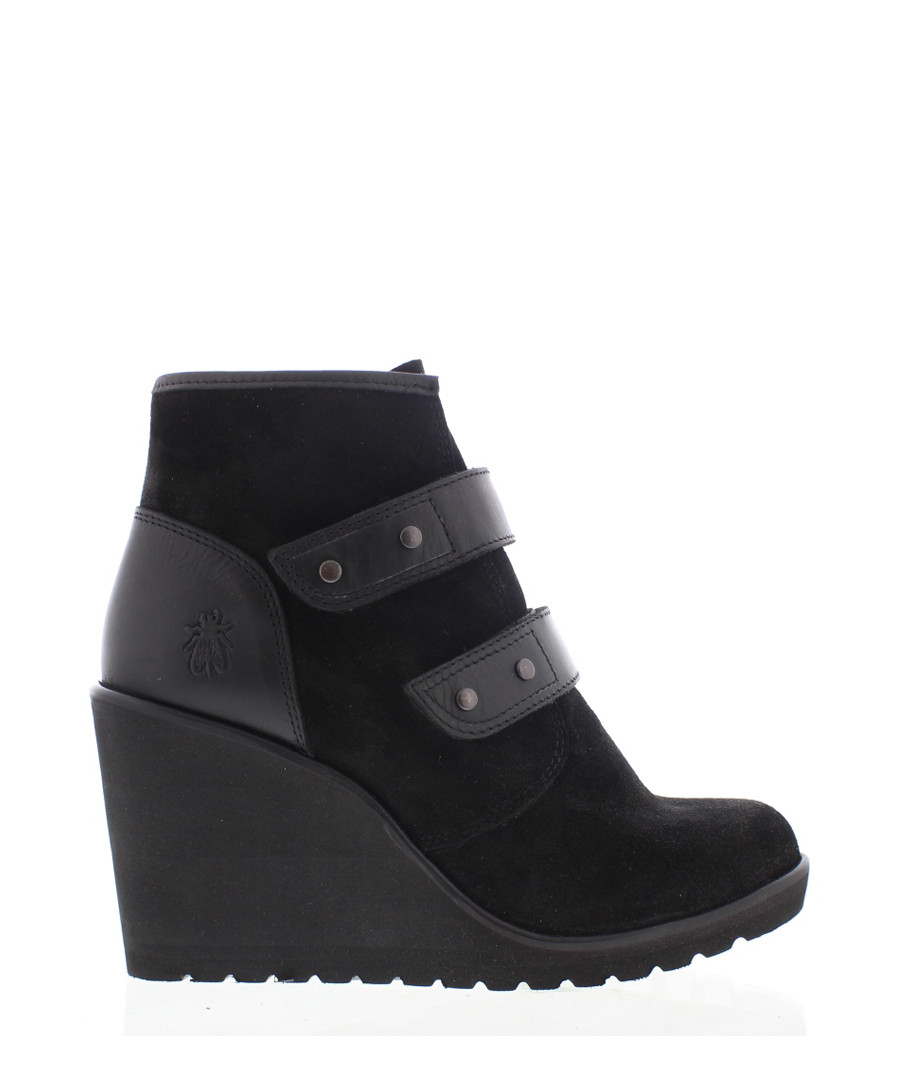 Pack black suede strap wedge boots Sale - fly london