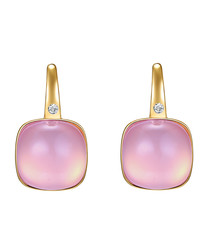 Gold-plated & pink crystal drop earrings