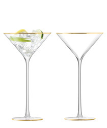 2pc gold-tone cocktail glass set