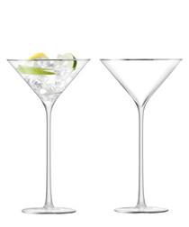 2pc platinum-tone cocktail glass set