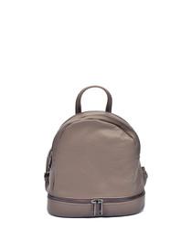 Beige leather dual-zip backpack