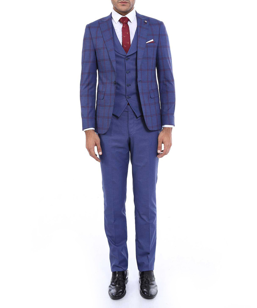 2pc navy check pattern slim fit suit  Sale - WSS WESSI MENSWEAR