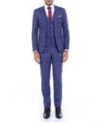 2pc navy check pattern slim fit suit
