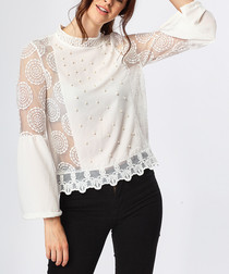 White lace panel & high-neck blouse