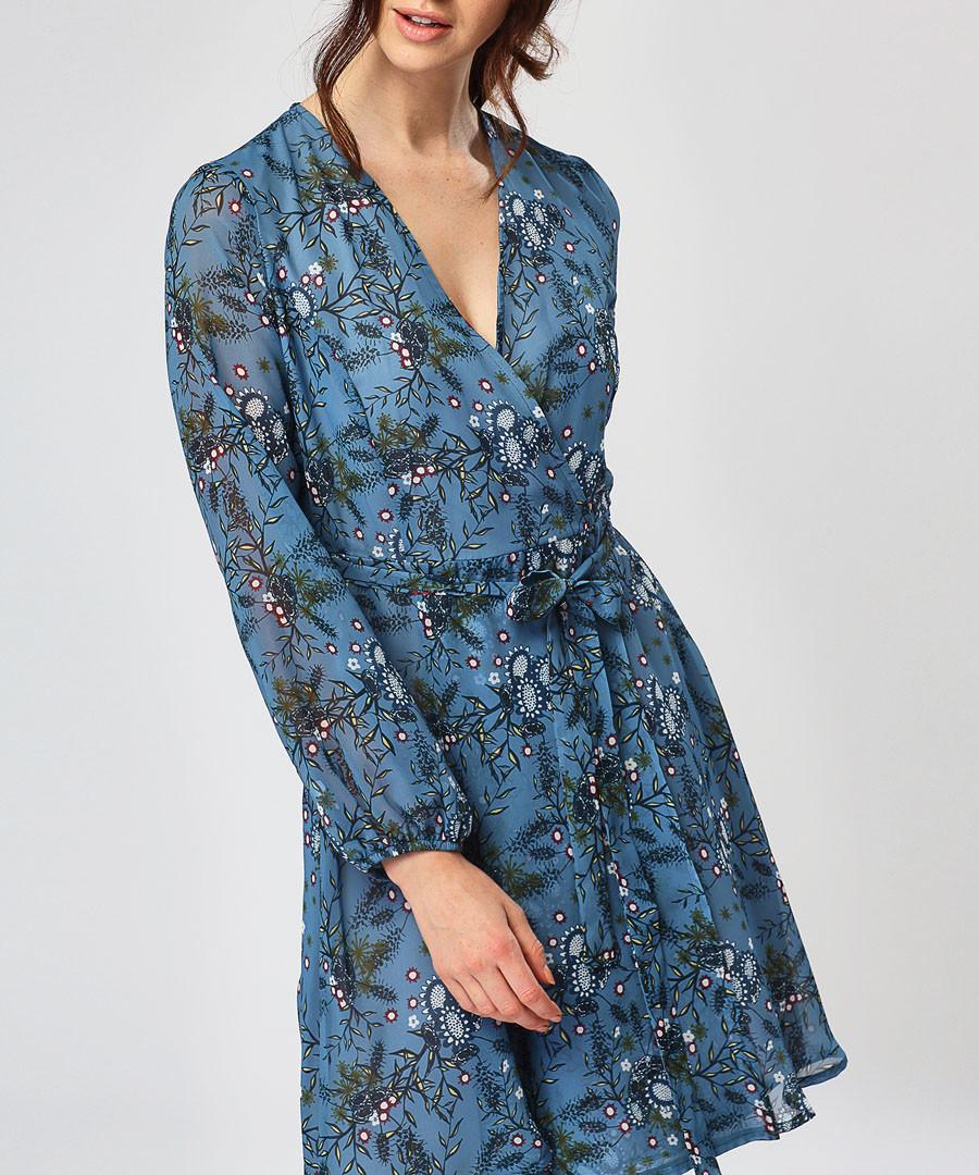 Blue floral print wrap dress Sale - zibi london