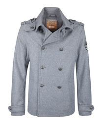 Men's grey wool blend duffle coat