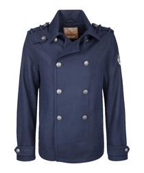 Men's marine wool blend Caban coat
